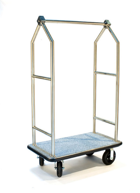 "Deluxe Bellman Cart 1-1/2"" Tube, Stainless Steel, Angled Top"