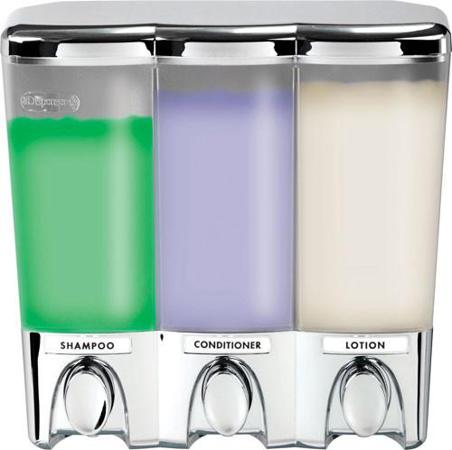 Better Living 72344 Clear Choice III Shower Dispenser, 3 Chambers, Translucent Bottles, Chrome