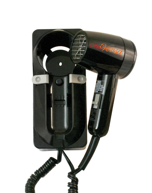 Jerdon JWM6CB 1600 Watt Wall Mount Hair Dryer - Plug In, Black