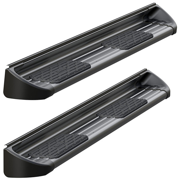Luverne Textured Black Stainless Steel Side Entry Steps Pair