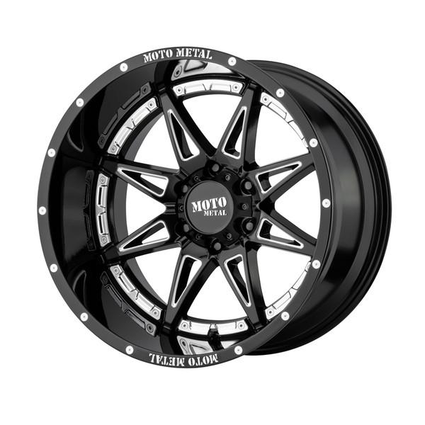 Moto Metal Milled Gloss Black Hydra Wheels