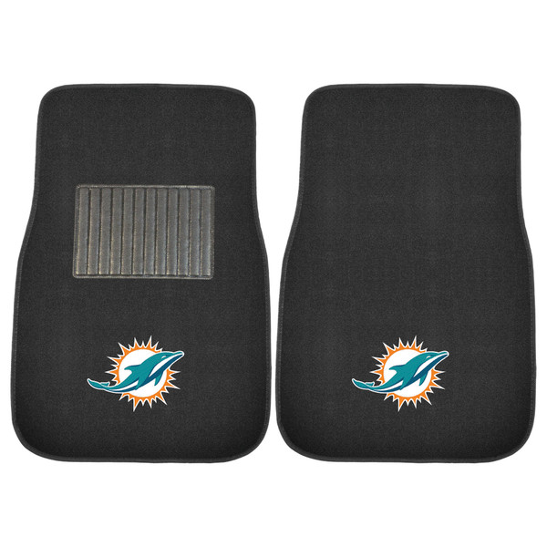FanMats Miami Dolphins NFL 2pc Embroidered Car Mat Set