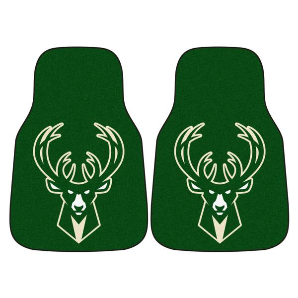 FanMats Milwaukee Bucks NBA 2pc Carpeted Car Mats