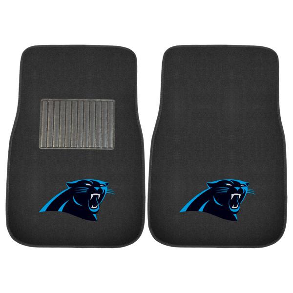 FanMats Carolina Panthers NFL 2pc Embroidered Car Mat Set