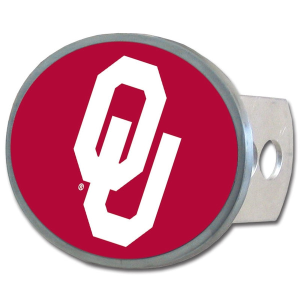 Oklahoma Sooners Oval Metal Hitch Cover Class II and III