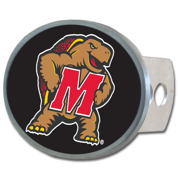 Maryland Terrapins Oval Metal Hitch Cover Class II and III