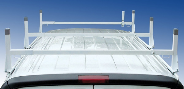 Ford Van Ladder Rack 3 Bar White Steel - Gutter Mount - Clamp-on