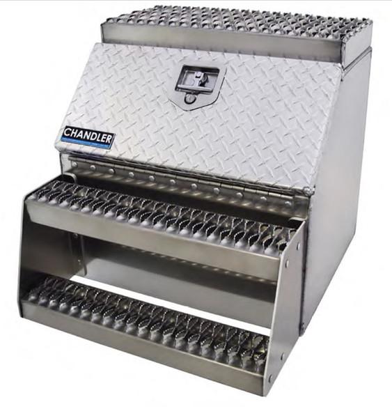 Aluminum Side-Step Toolbox | Smooth Box | Treadplate Doors