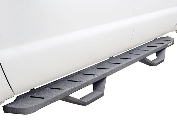 Pair RB10 Textured Black Cab Length Running Boards With 4 Drop Steps