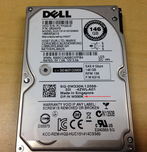 "DELL 146GB 15K 2.5"" 6GBPS SAS HDD 0B24379"