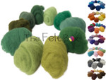Picture with balls of wool is for colour reference only . Wool is shipped as flat pieces. needle felting wool by the felt box