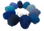A selection of blue needle felting wool available