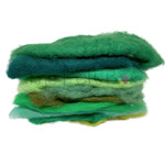 Carded Needle  Felting Wool in green shades