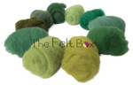 A selection of Needle felting in green shades