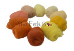 Needle felting wool  Yellow Orange