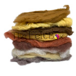 needle felting wool in brown and beige shades  for crafts
