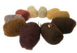 A selection of Needle felting wool  in Brown shades