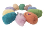 A selection of colours of  Needle felting wool  in pastel shades