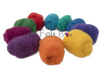 Needle felting wool  bright colours