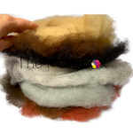 Grey brown carded wool selection
