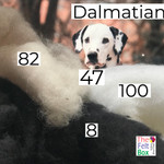 Needle felting wool in dalmatian shades