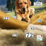 Needle felting wool in golden labrador shades