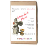 Needle Felting Kit- Cotton Reel Mouse. Makes four. Level -Intermediate