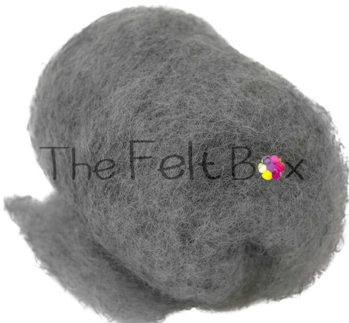 needle felting wool in mouse grey shade  by the felt box