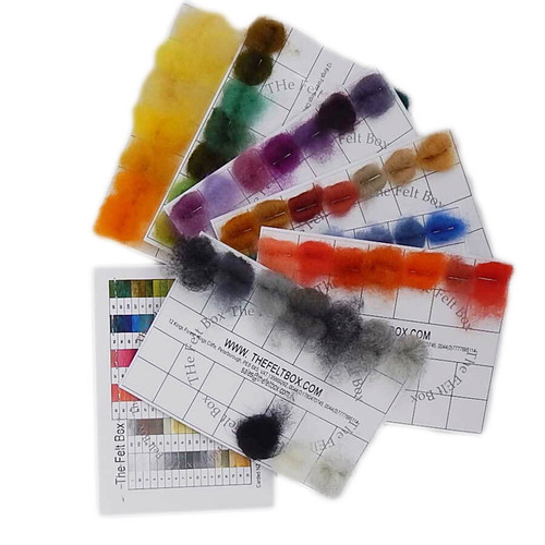 Needle Felting  Wool Colourchart, wool pieces on card