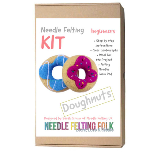 Needle Felting kit designed by Sarah Brown of The Original Needle felting UK. Doughnuts