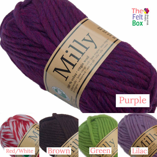 Light Chunky Yarn Milly, Pure Wool, Knit and Felt, 50 g