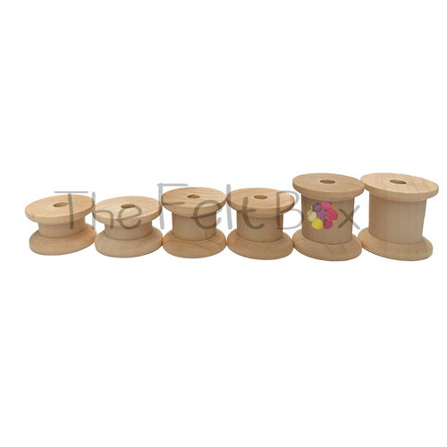 Wooden Reel | Bobbin | Cotton reels / Spools Set of 6.  W 22 mm H15mm 20 and 25 mm