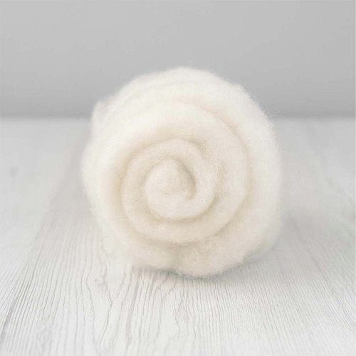 Carded MAORI Wool For Needle Felting, DHG Raw - Natural White 500g