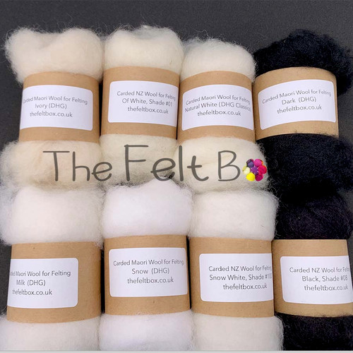 Black & White Mix Pack . Carded wool for felting