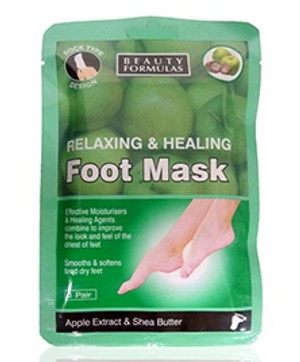 BEAUTY FORMULAS RELAXING & HEALING FOOT MASK 1 PAIR