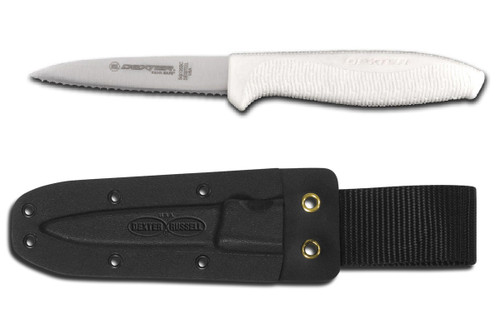 """Dexter Russell SofGrip 3 1/2"""" Small Bait Chunking Knife With Sheath VB3937"""