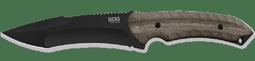 SOG Kiku Large Hardcased Black Tini Drop Point Straight Edge Fixed Blade Knife SOGKU-2012 KU-2012