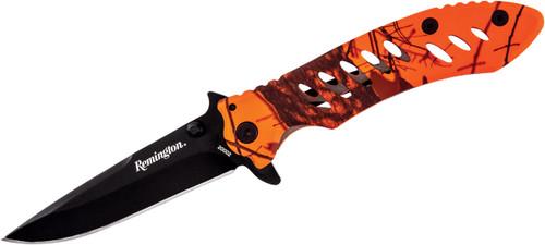 "Remington F.A.S.T Series Flipper 3.2"" Black Drop Point Blade Mossy Oak Blaze Handle R20002 100012"