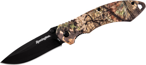 "Remington F.A.S.T. 2.0 Series 3.03"" Assisted Flipper Black Drop Point Blade Mossy Oak Break Up Country Handle R20008 100024"
