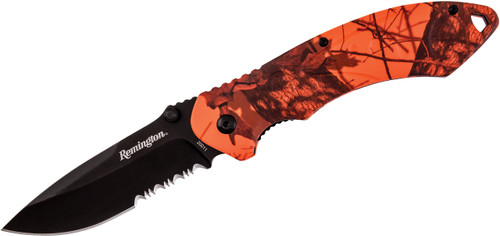 "Remington F.A.S.T. 2.0 Series 3.03"" Large Assisted Flipper Black Drop Point Combo Blade Mossy Oak Blaze Handle R20011 100030"