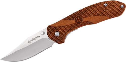 "Remington Heritage 3.06"" Clip Point Blade Folding Pocket Knife Textured Guibourtia Wood Handle R40001 100041"