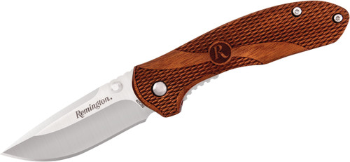 "Remington Heritage 2.72"" Drop Point Blade Folding Pocket Knife Textured Guibourtia Wood Handle R40002 100043"