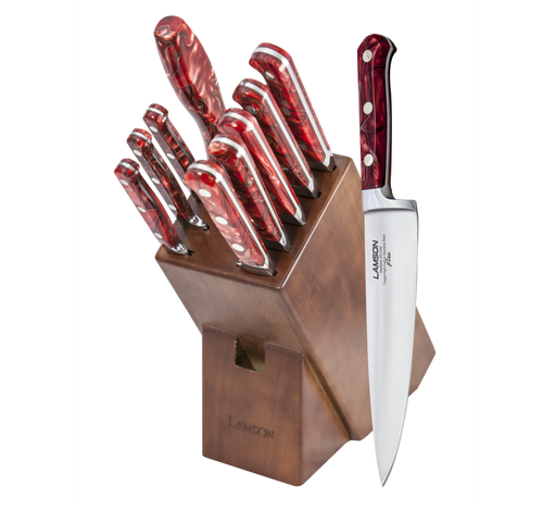 Lamson Forged Fire Series 10 piece Knife Block Set Full Tang 4116 German Steel Walnut Block  59902A