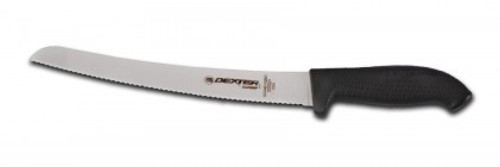 "Dexter Russell SofGrip 10"" Black Handle Scalloped Bread Knife 24383B SG147B-10SC"