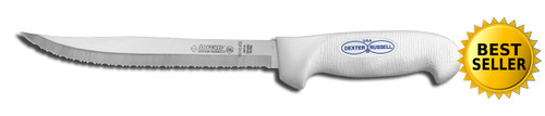 "SG142-8 Dexter SofGrip 8"" Tiger edge Slicer white handle"