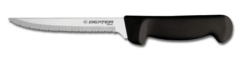 "Dexter Russell Basics 6"" Scalloped Utility Knife Black Handle 31627B P94847B"