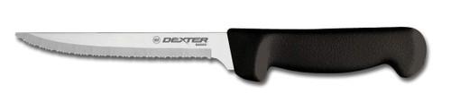 "Dexter Russell Basics 6"" Scalloped Utility Knife Black Handle 31627B P94847B"
