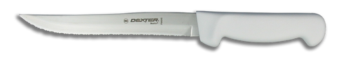 "Dexter Russell Basics 8"" Scalloped Utility Knife White Handle 31628 P94848"