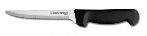 "Dexter Russell Basics 8"" Scalloped Utility Knife Black Handle 31628B P94848B"