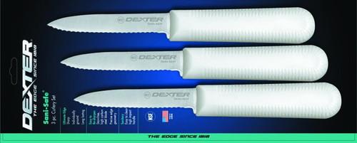"S104SC Dexter Sani-Safe 3 1/4"" 3 pack of Scalloped Pairing Knives (15453)"